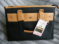 "New Black & Beige TLC Tuffluv Ladies Womens Liza 13.3"" Laptop Tablet Tote Bag"