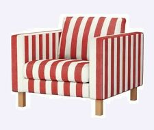 IKEA Karlstad Low Armchair Slipcover Rannebo Red White Stripe Chair Cover NEW
