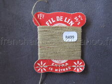 R499 Mercerie vintage ancienne carte FIL DE LIN N°24/3 FFF beige sable Thread