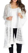 NEW - OSO Casuals® Knit Mesh Side Seam Slit Fringe Trimmed Open Front Shawl - M