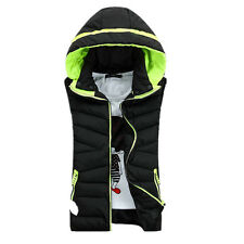 Mens Womens Winter Padded Hooded Waistcoat Vest Bodywarmer Gilet Zip Jacket