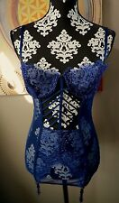 Victoria's Secret Lingerie Navy Blue Lace Corset Eyehook Sheer Cut Out 34C NWT