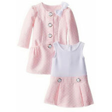 Bonnie Jean Girls Light Pink Jacquard Spring Easter Dress & Coat Set 24M New