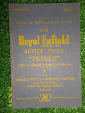 ROYAL ENFIELD 148cc PRINCE ILLUSTRATED SPARE PARTS LIST MANUAL PAPER BOOK 1959