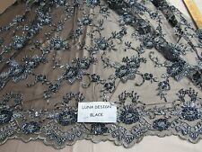 Luxurious Black/Silver Flowers Embroider And Beaded On A Mesh Lace. Prom/Fabric.