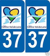 2 Autocollants style plaque d'immatriculation37 Val de Loire ex Région centre
