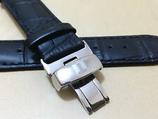 20mm Gents Black Leather Deployment Strap with Tissot Stainless Steel Clasp