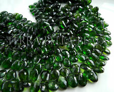 25 pc CHROME DIOPSIDE faceted gem stone pear briolette beads 6mm - 10mm green