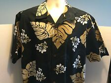Quicksilver Black Short Sleeve Button Front Men Shirt Floral Plant Pattern Sz L