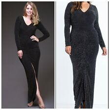 Plus Size NYE Black & Gold Glitter Long Sleeve Maxi Dress, 2XL, 14/16