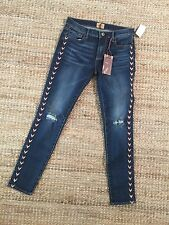VERY CUTE!  Sundance's Driftwood embroidered denim skinny pant Jackie sz 27NWT