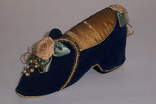 Vintage Old Antique Victorian Pin Cushion Ornate Slipper Shoe - Roses and Beads