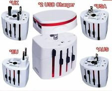 World Universal International Travel Adapter with two Usb port UK EU AU US Plug