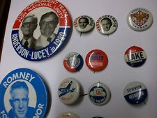 political pin lot from mayberry flea market-Romney anderson-lucey-goldwater D1
