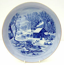 Vintage Currier & Ives Plate Blue White A Home in the Wilderness Christmas