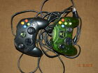 2 Original Xbox Controllers Official Microsoft S-Type Green & Black