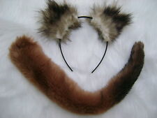 Weasel Ears And Tail Set Brown Black Fur Fancy Dress Animal Costume One Size