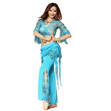 Belly Dance Costume Fancy Outfit Top Pants Indian Tribal Yoga Practice Costume
