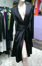 BNWT House Of Cashmere Faux Satin Wrap Around Elegant Coat/Dress  Black Size M