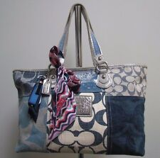 Coach 16926 Poppy Denim Patchwork Canvas Leather Tote Carryall Shoulder Bag