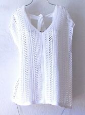 NEW~$48~Chelsea & Theodore~White Crochet Knit Sweater Back-Tie Top~8/10/M/Medium