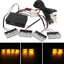 4 x 3 LED Car Front Grille Police Warning Lights Yellow Flashing Waterproof Emer