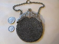 Antique Art Nouveau Woman French Doll Steel Micro Bead Chatelaine Coin Purse