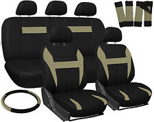 Truck Seat Covers for Ford F150 Tan Black w/ Steering Wheel/Belt Pads/Head Rests