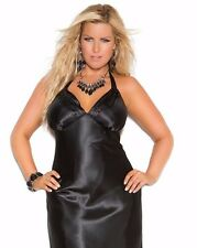 Women Plus Long Nightgown 3X Black Charmeuse Satin Halter Lingerie Nightie Sexy