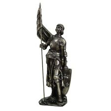 14 Inch Joan of Arc Woman Knight with Flag and Shield Statue Figurine