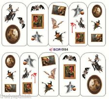 Nail Art Water Decals Stickers Halloween Blood Witch Spiders web Gel Polish (84)