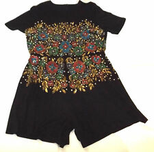 BNWT SEQUIN & BEADS UK 20 EUR 48 BLACK JUMPSUIT ALL IN ONE PLAYSUIT SHORTS