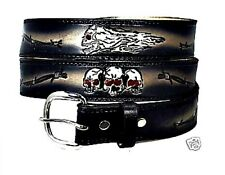 MOTORCYCLE  BIKER TRUCKER BARBED WIRE HARLEY DUTY SKULL  LEATHER BELT w BUCKLE