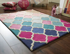 "Thick Hand Tufted Wool Moroccan Pattern Pink Blue Rug 80 x 150 cm (2'6""x5'0"")"