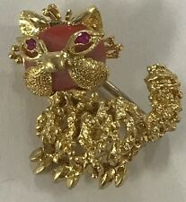 18k Solid Yellow Gold Italy Cute Cat Coral Ruby Pin/Brooch