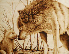 """WOLVES """"SNOW DAY WITH MOM"""" ORIGINAL ANIMAL DRAWING-PYROGRAPHY/WOODBURNING"""