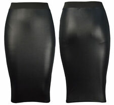 NEW WOMENS BLACK PVC WET LEATHER LOOK MINI PENCIL TUBE BODYCON SKIRT SIZE 8- 14