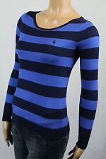 Ralph Lauren X-SMALL XS BLUE NAVY PIMA V-NECK SWEATER PONY NWT