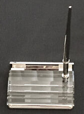 Crystal and Silver Business Card Holder For A Desk With A Ballpoint Pen, New