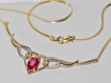 Beautiful 9ct Yellow Gold Real Diamond & Ruby Ladies Necklace