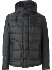 $2600 MONCLER Men black DOWN HOODED WOOL quilted PADDED JACKET COAT SIZE 7 3XL