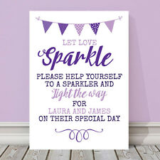 Personalised Purple & Lilac Wedding Sparkler Let Love Sparkle Sign 3FOR2 (PL23)