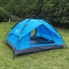 Waterproof Double layer Auto Instant Camping Family Pop Up Umbrella Tent  Blue