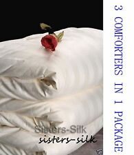 Top Grade 100% Silk Filled 3 in 1 Comforter Quilt Size King For All Season White