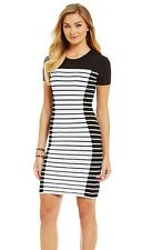 NWT MSRP $175 - MICHAEL KORS Striped Knit Bodycon Sheath Dress, Black White, XL