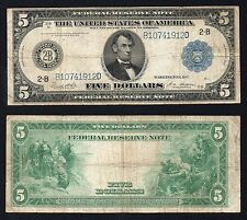 5 Dollars Federal Reserve Bank NEW YORK 1914  Large Size