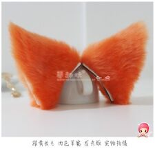 1 pair Lolita Orange Anime Cosplay long fur Fox ears White Party Neko Cat ear