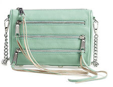 NWT Rebecca Minkoff Mini 5 Zip Sage Leather Crossbody Bag