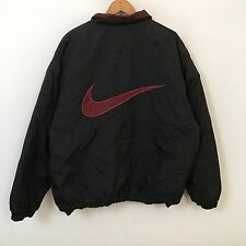 VTG 00s Nike Big Swoosh Reversible Puffer Jacket Mens SZ L Black Red Bulls Color