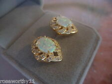 ANTIQUE VINTAGE GOLD BLUE OPAL EARRINGS EAR RINGS WITH SAPPHIRE WHITE STONES